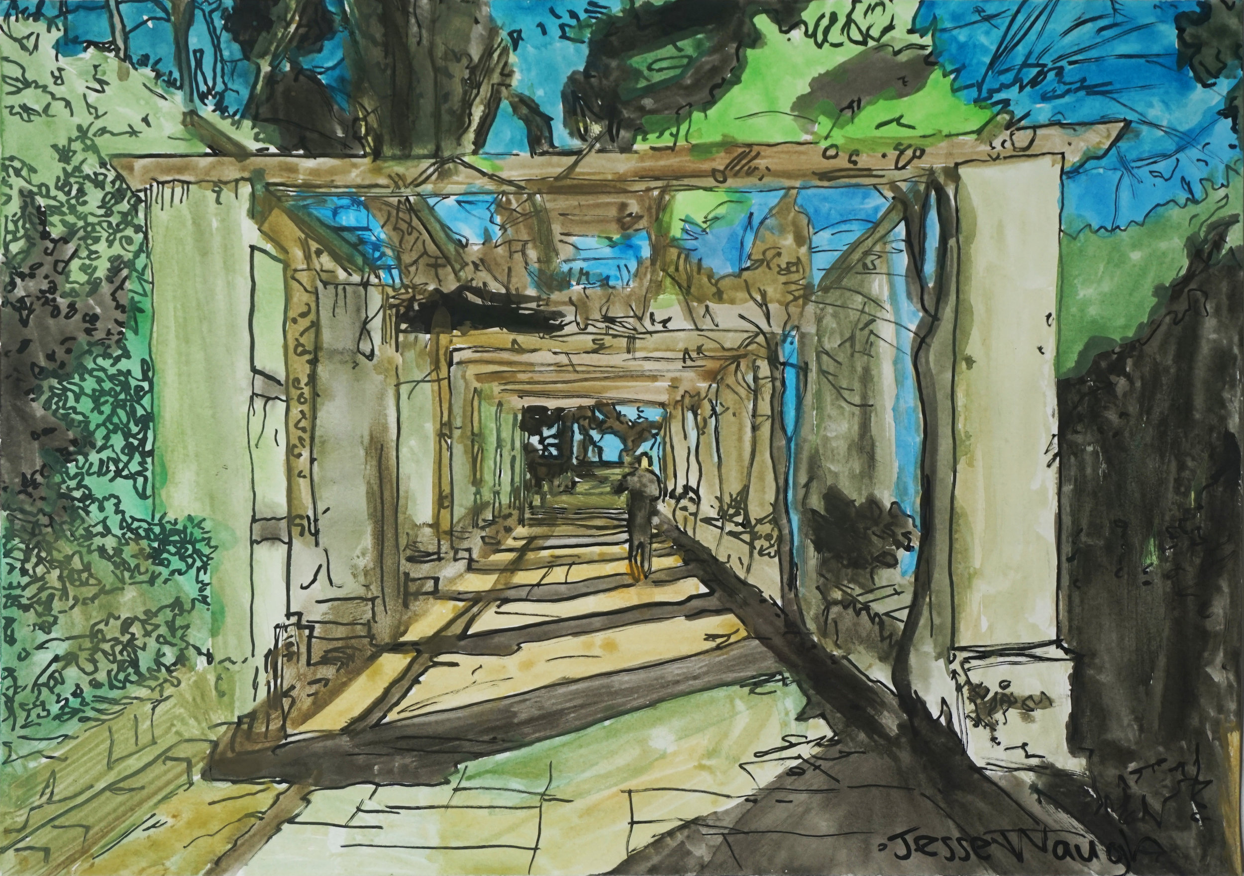 JESSE WAUGH   KEITH AT MONTJUIC   2018 WATERCOLOR 297 X 420 MM (A3)