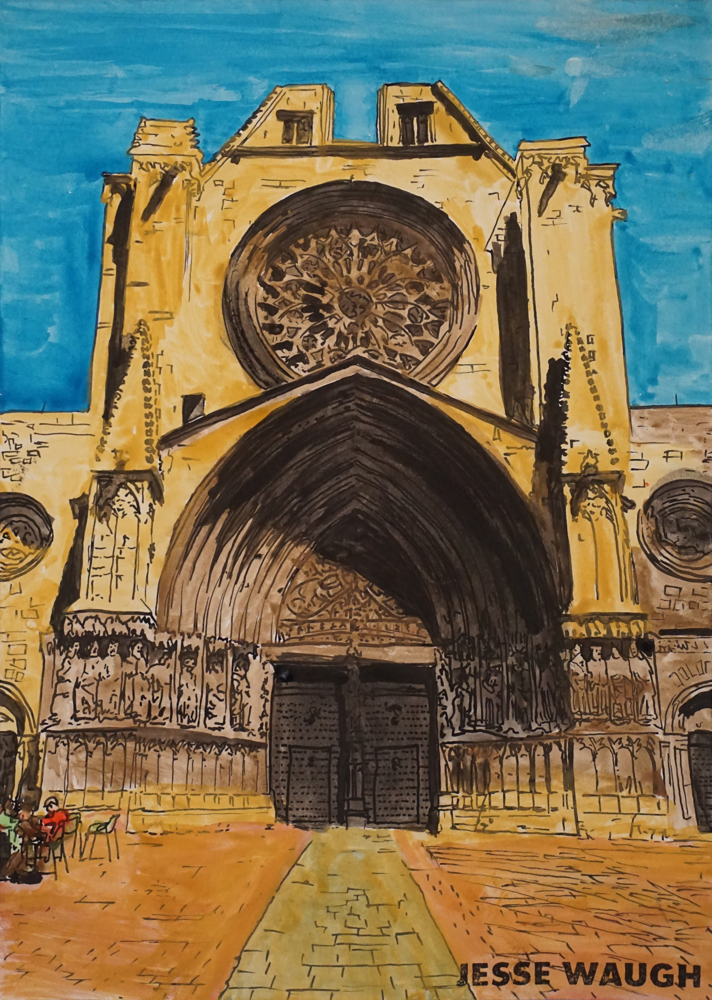 JESSE WAUGH   TARRAGONA CATHEDRAL   2018 WATERCOLOR ON PAPER 297 X 420 (A3)