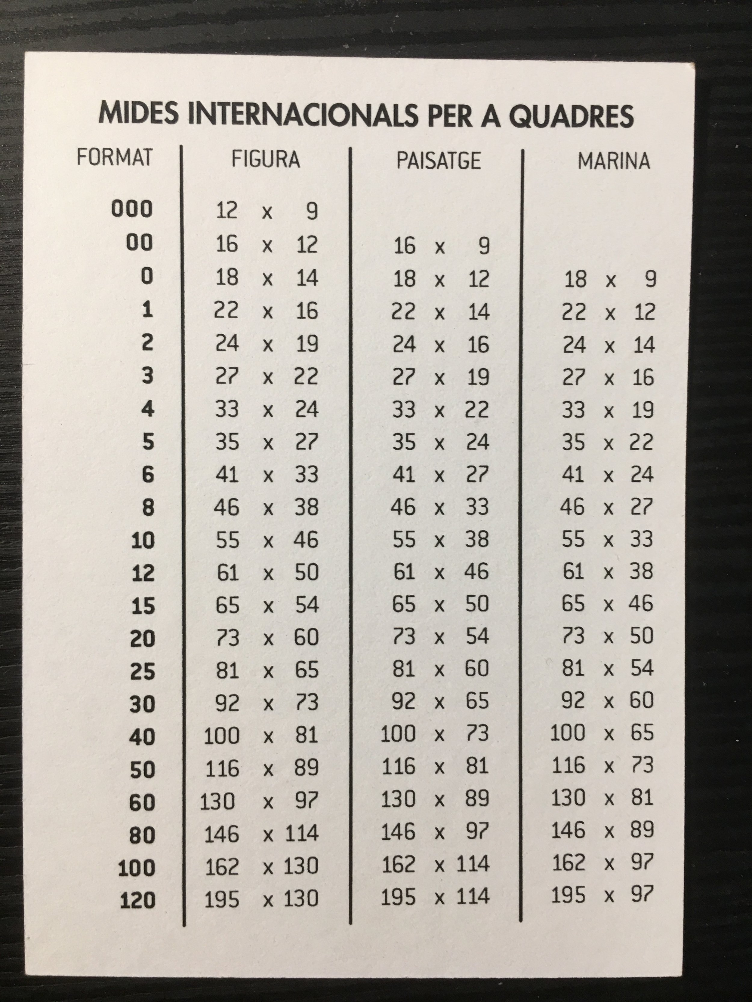 Barna Art, Barcelona canvas sizes chart