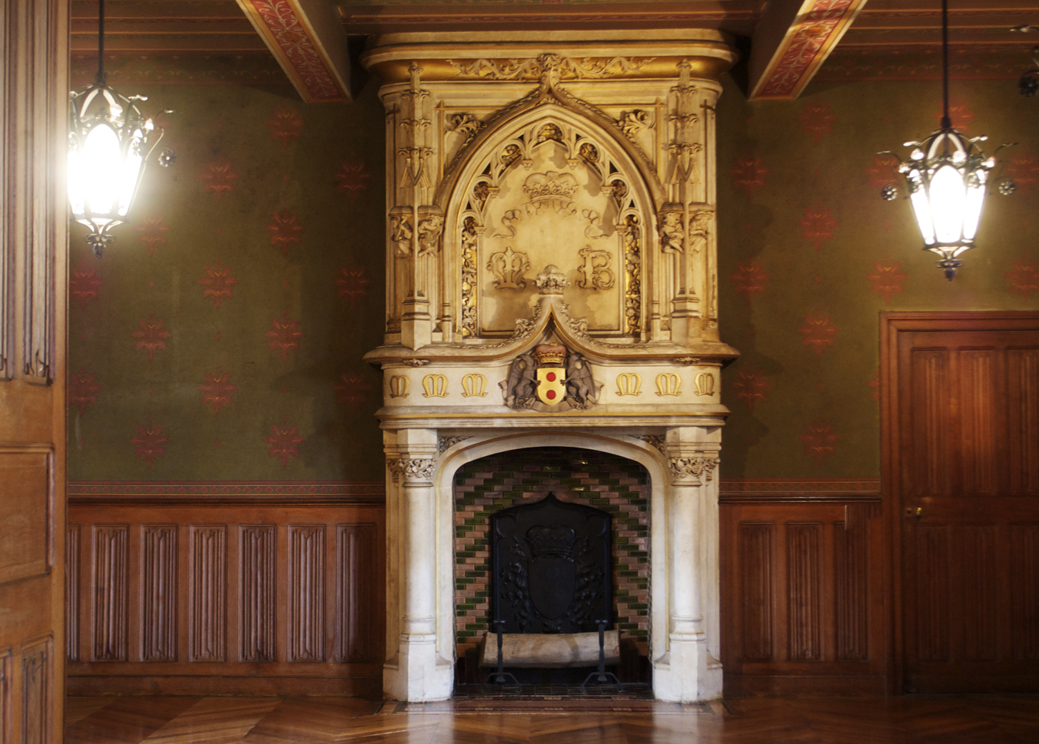 Ornate mantle in the dining room