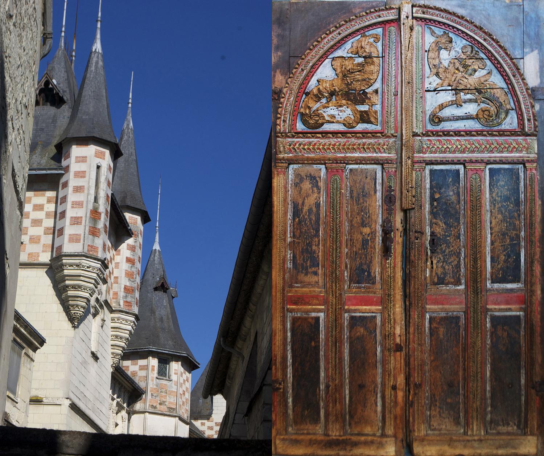 Saumur towers and interior door