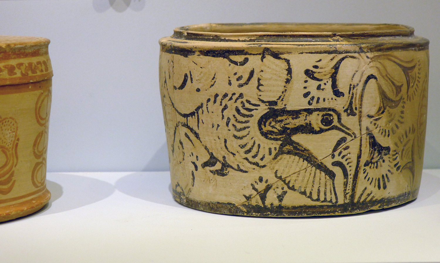 Pottery bowl from about 2000 BC with a painted bird