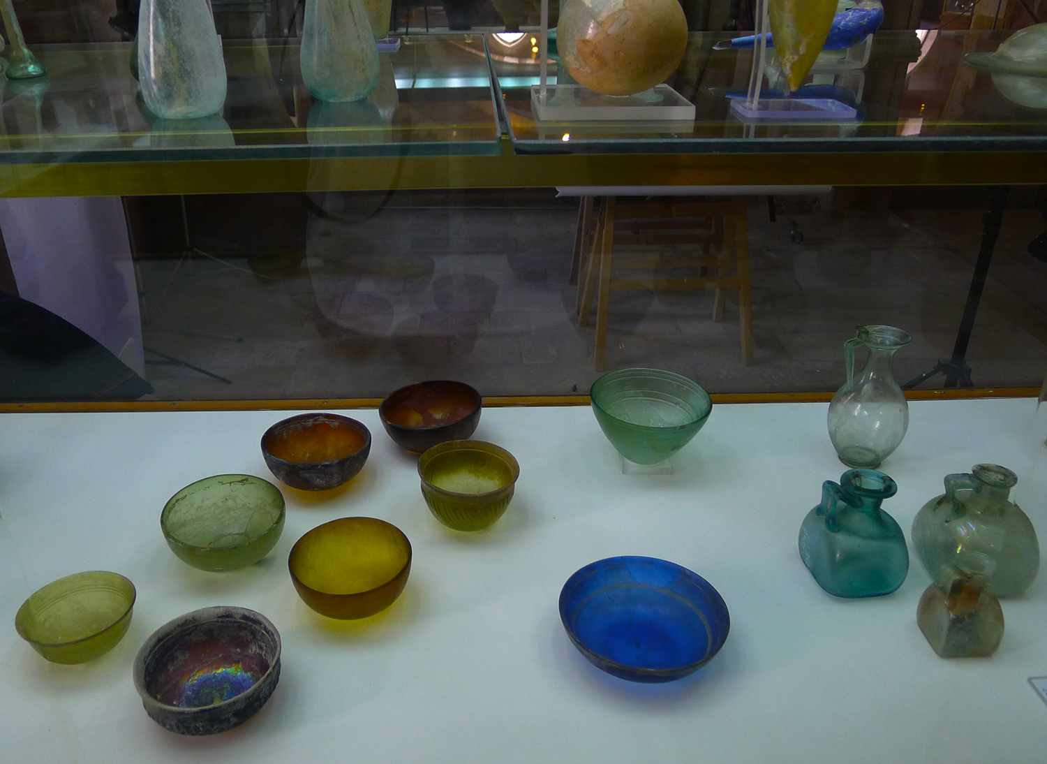Glass bowls displayed in the archeological museum in Chania