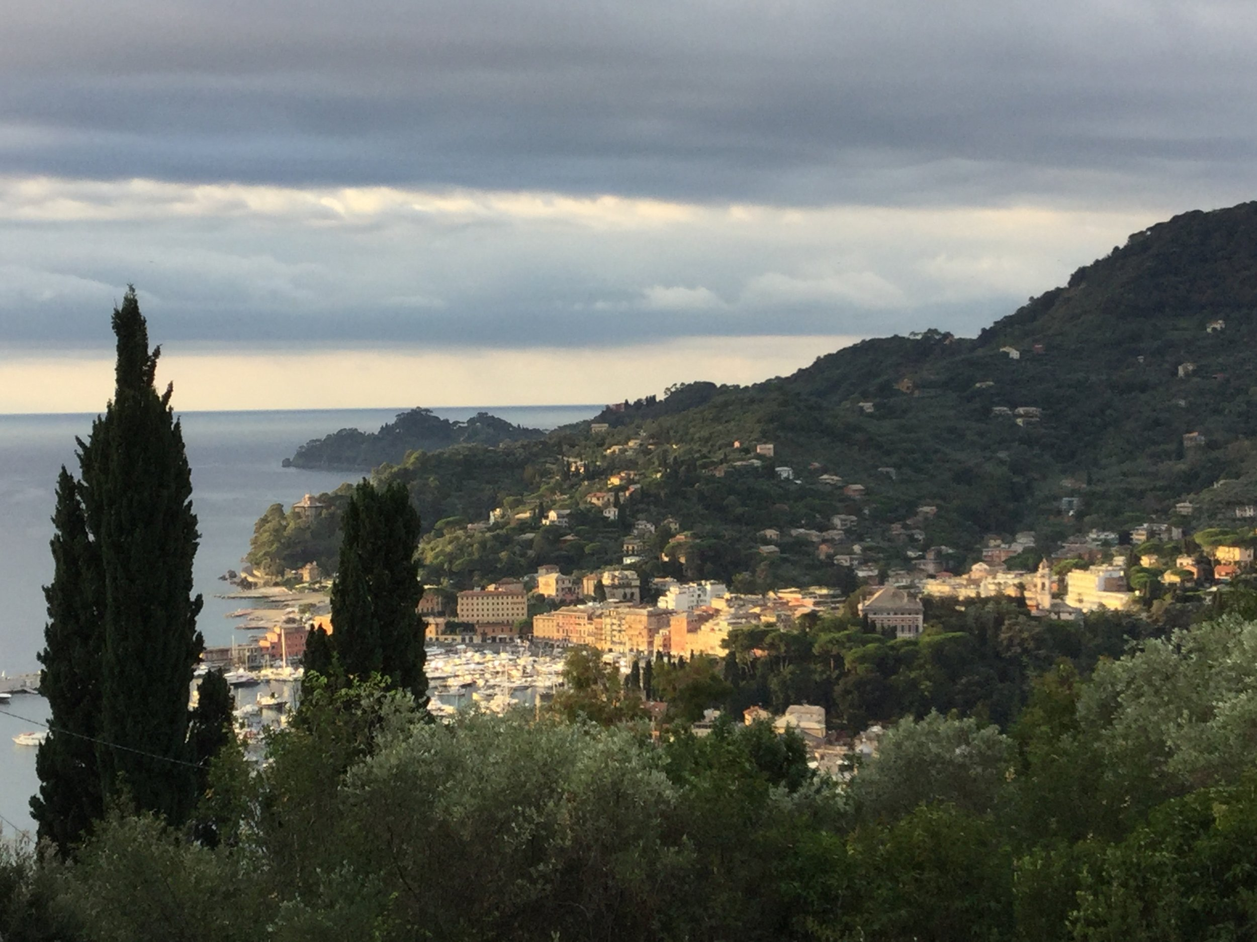 View from our bedroom window at the house we're renting in Santa Margherita