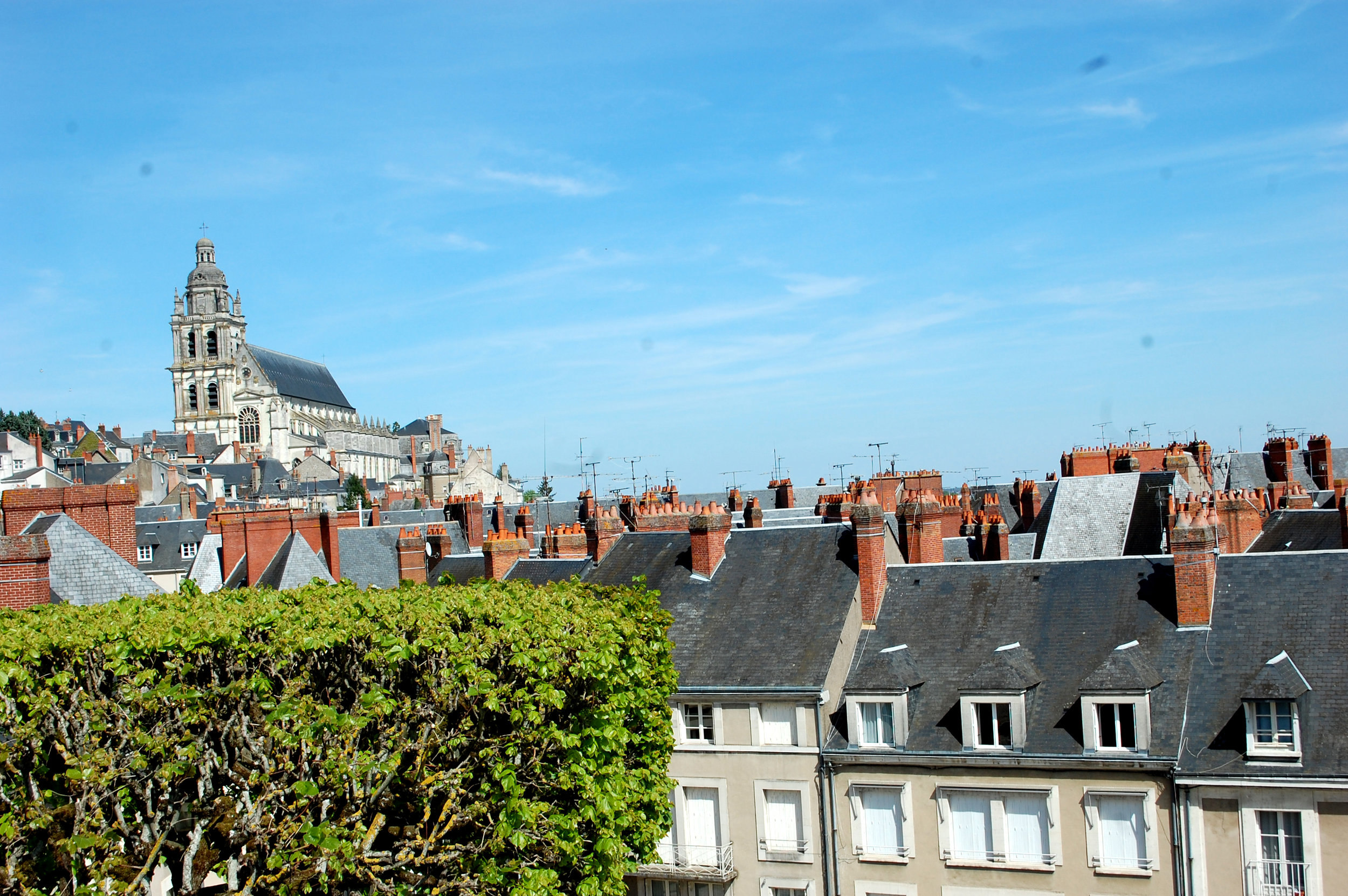 Mary Poppins view of rooftops in Blois