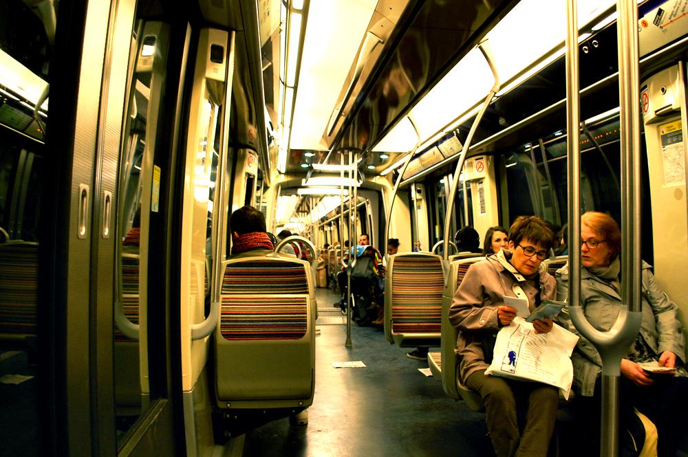 Metro ride into central Paris