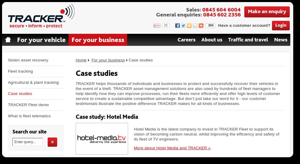 Tracker Website - Case Study