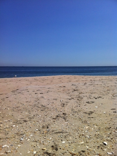 An empty beach in September a great time to collect sea glass