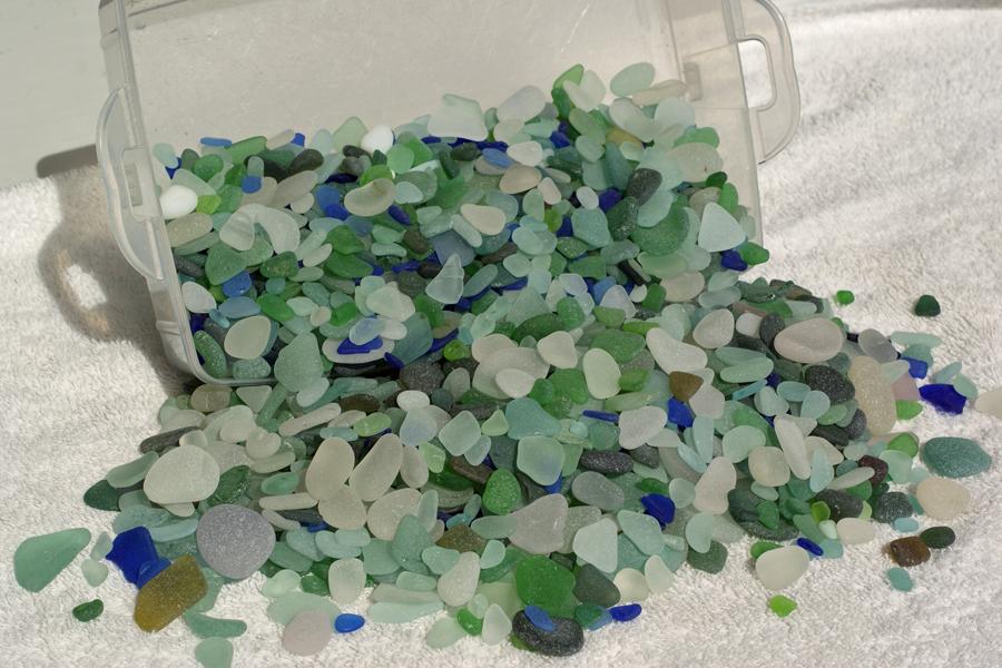 Sorting through  sea glass  colors
