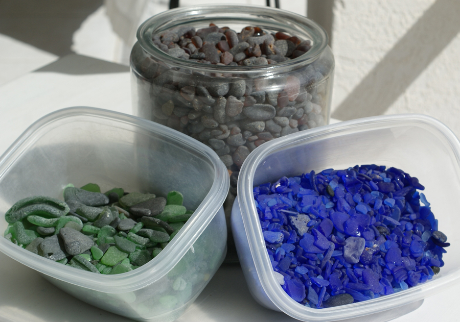 Sorting  sea glass  is a never ending task
