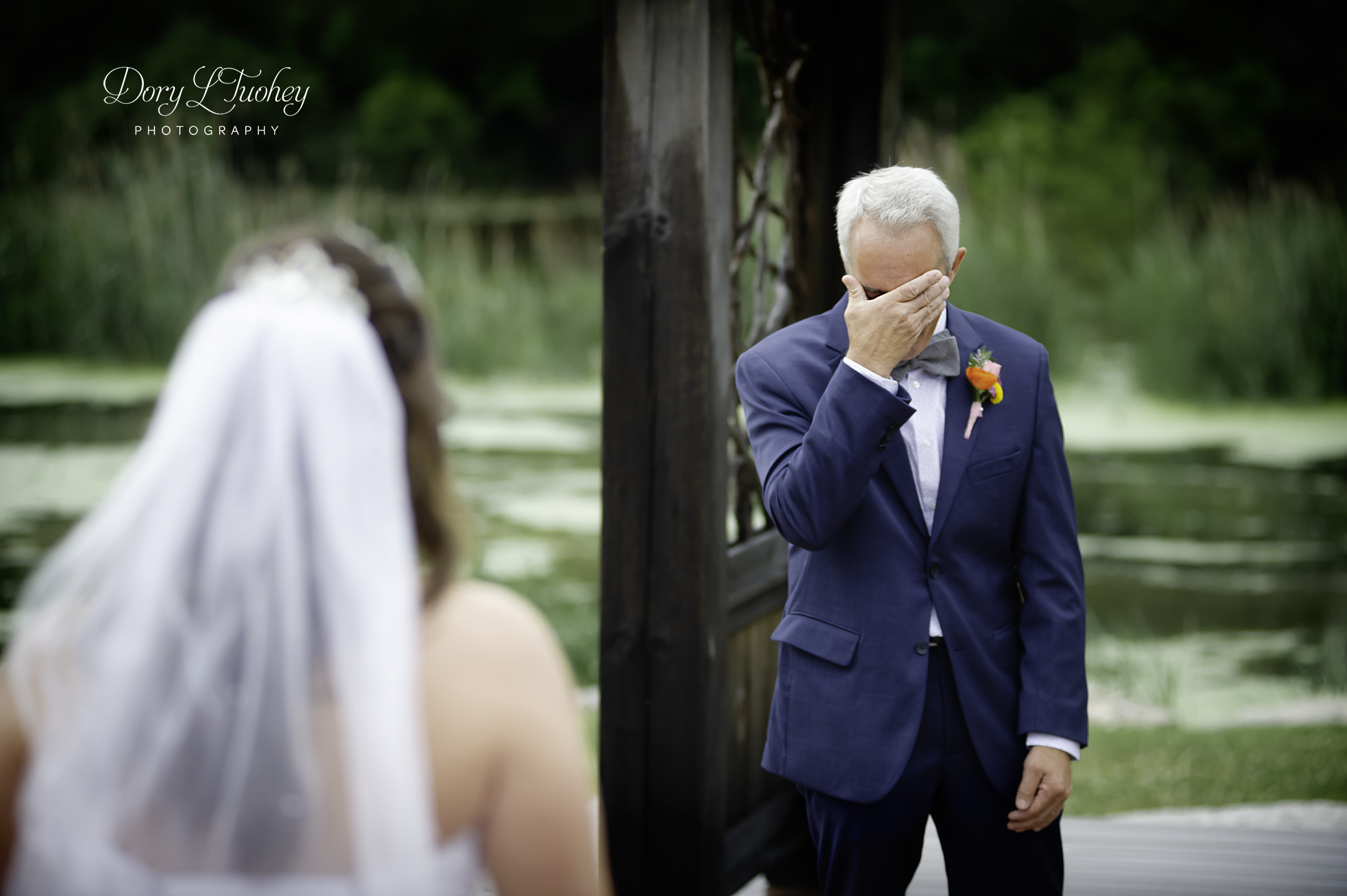 Love this moment when Leah's dad sees her for the first time as a bride.