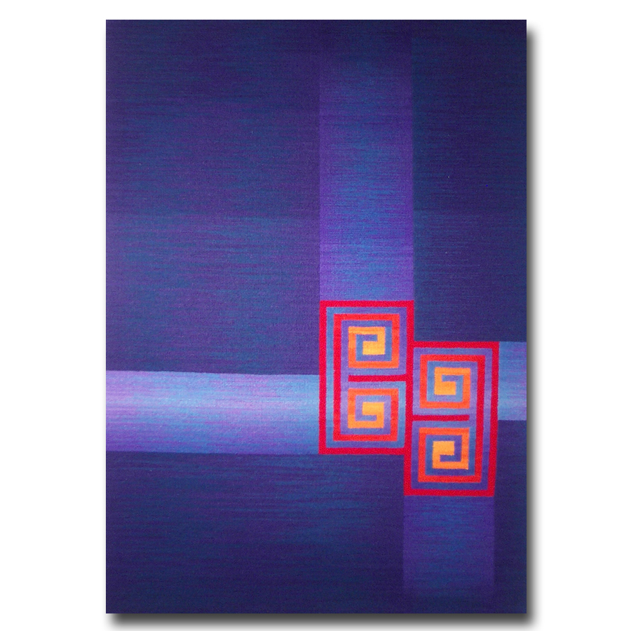 Rebecca Mezoff  Contemplative Garden  26 x 40 inches hand-dyed wool tapestry Private collection
