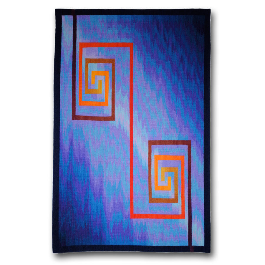 Rebecca Mezoff  Halcyon Days II  26 x 40 inches hand-dyed wool tapestry Private collection