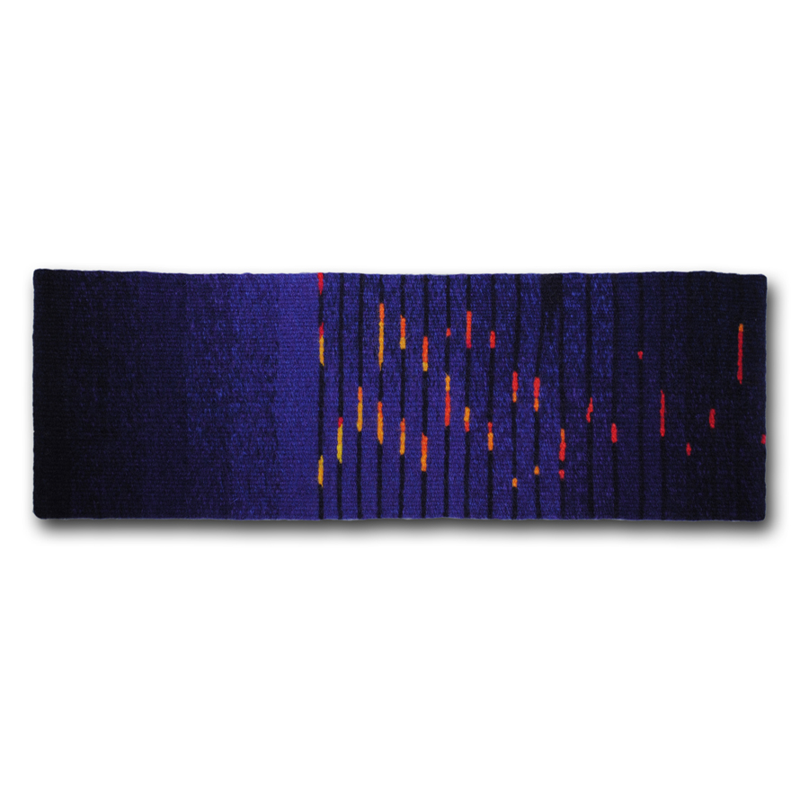 Rebecca Mezoff Barn Burned Down (now I can see the moon) 5 x 17 inches hand-dyed wool tapestry Private collection