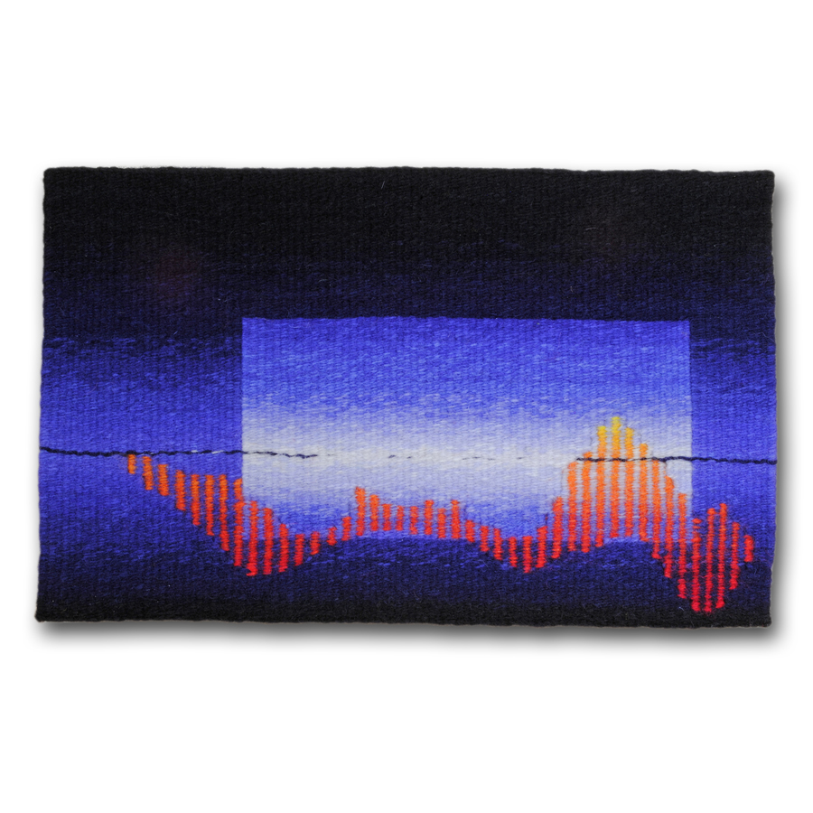 Rebecca Mezoff  Cherry Lake  8 x 13 inches hand-dyed wool tapestry Private collection