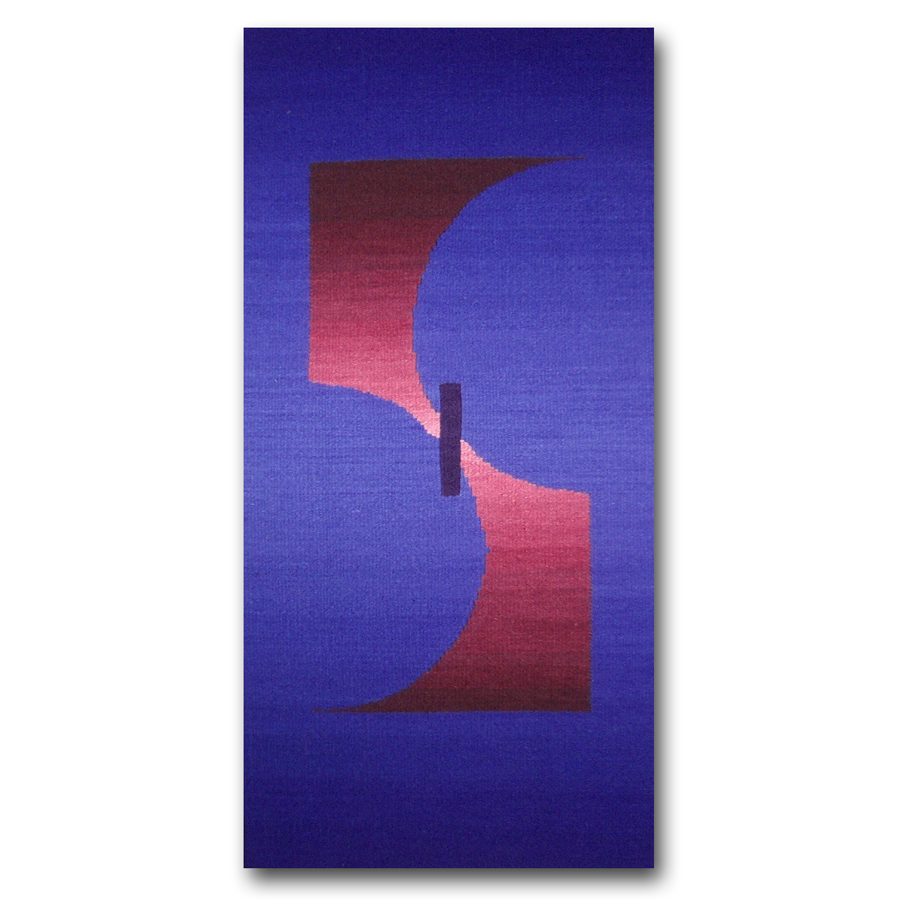 Rebecca Mezoff  The Space Before Knowing  15 x 30 inches hand-dyed wool tapestry Private collection