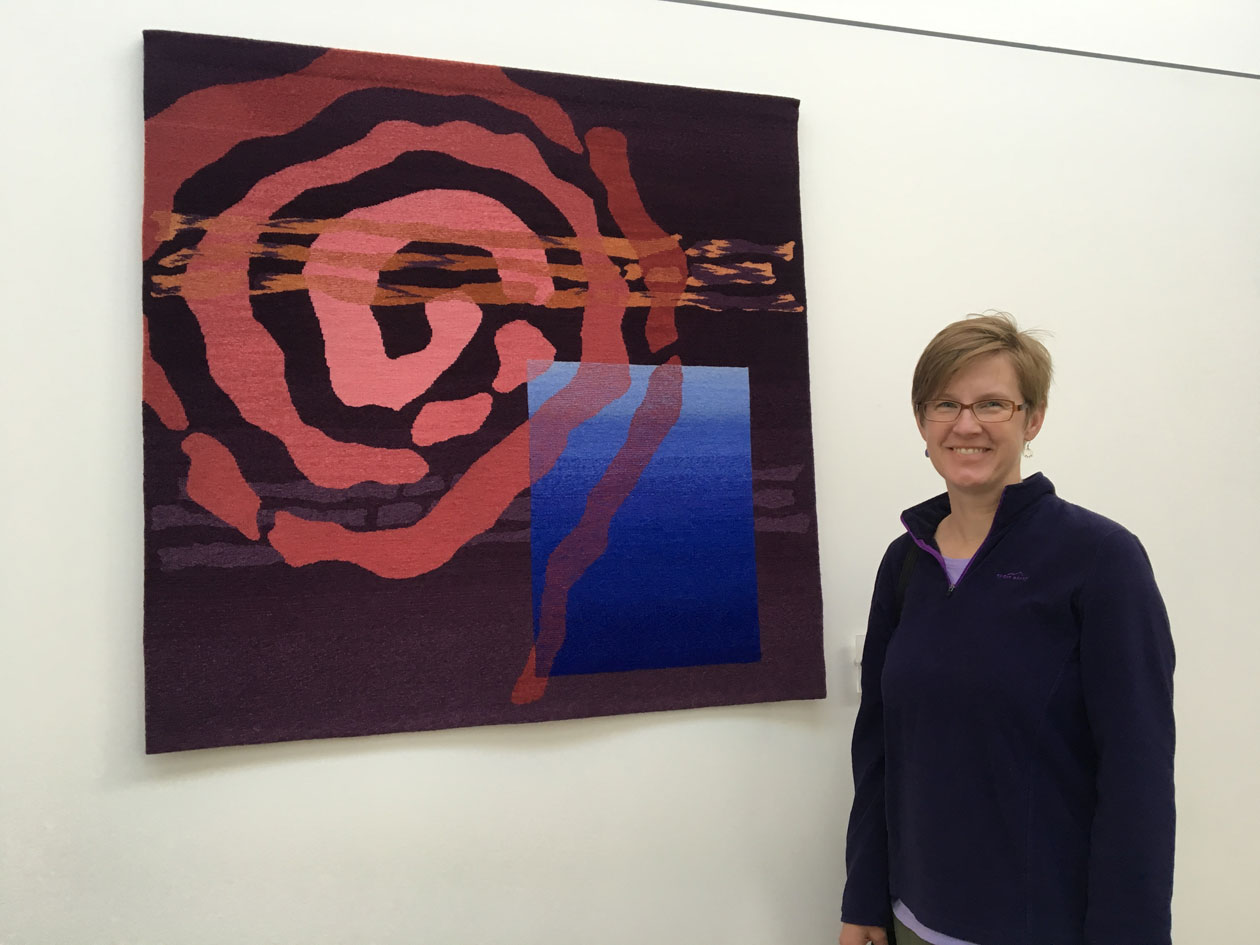 Rebecca Mezoff,  Emergence II,  collection of Colorado Northwestern Community College, 45 x 45 inches, hand-dyed wool tapestry