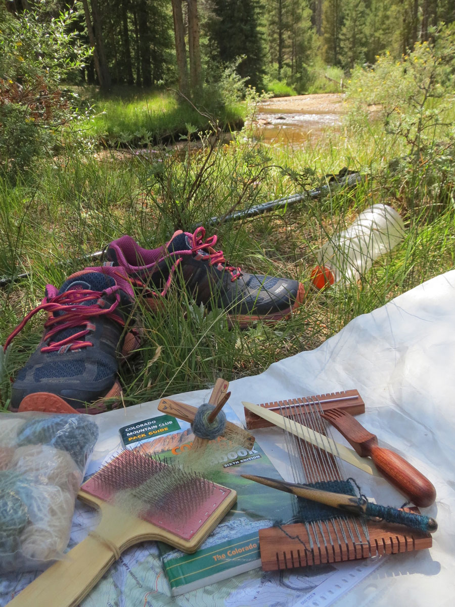 A beautiful afternoon in a meadow near the Mt. Massive Trailhead spinning, weaving, and doing some hobo laundry.