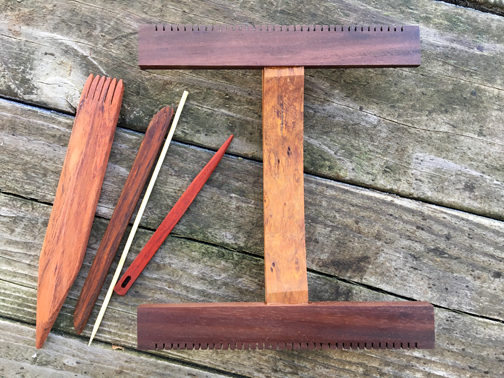 Hokett 6-dent exotic wood loom kit (woods vary widely!) with flat beater, 7 inch shed stick, small wooden needle.