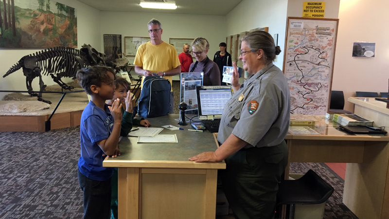 Some new junior rangers getting sworn in by the endless font of information, Ranger Hallie. She gave me precise directions to those fossil clams right after the swearing in was completed.