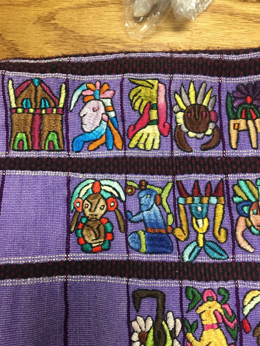 In this huipil, everything except the figures was woven. The figures were embroidered.