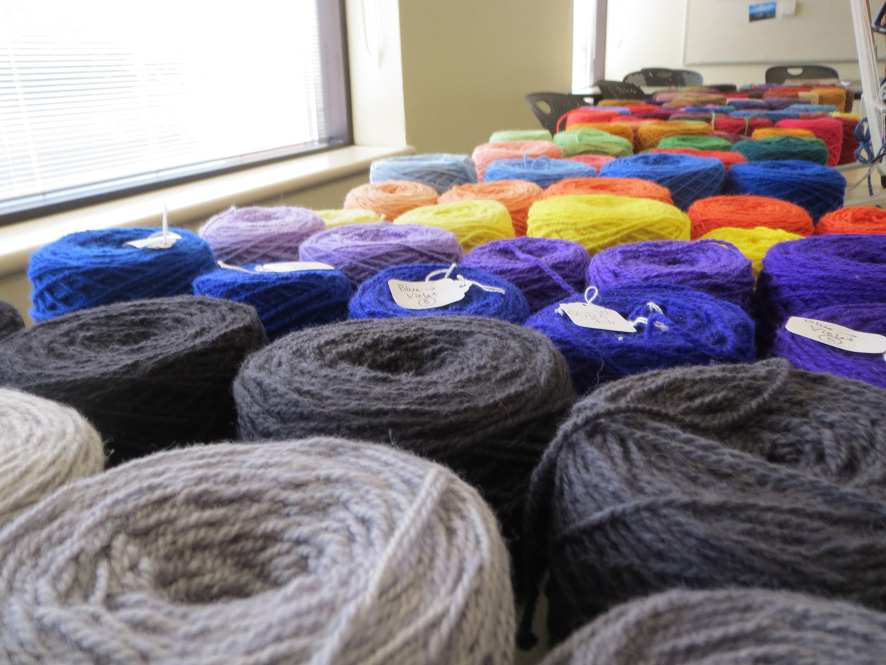 Yarn table at a workshop at Michigan Handweavers League conference
