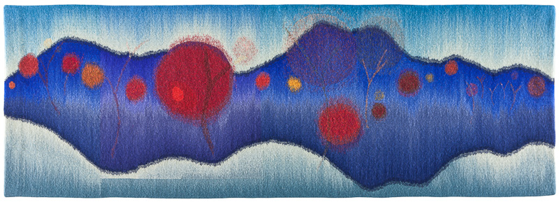 Rebecca Mezoff,  Lifelines,  24 x 70 inches, hand-dyed wool tapestry; photo: Gregory Case