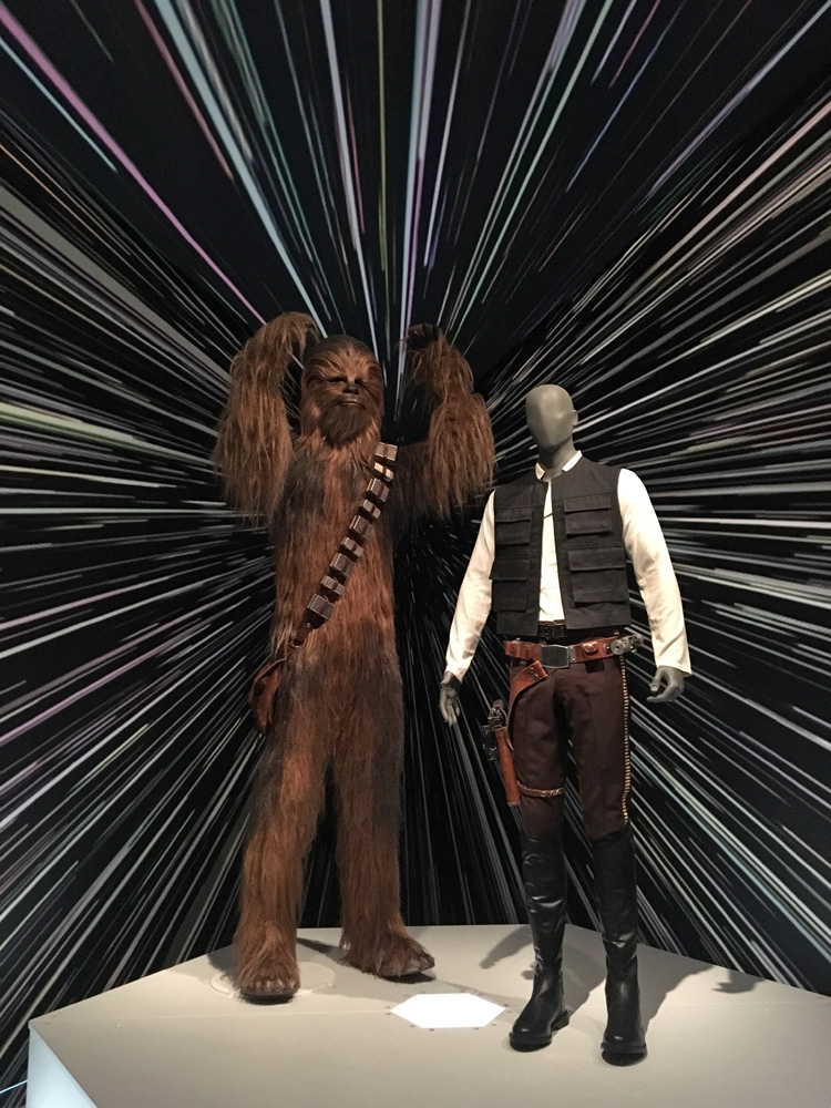 """1977 Chewbacca costume.  Episode IV: A New Hope.  """"Knitted wool base, surface hand knotted with 15 pounds of multi-colored yak hair and mohair."""""""