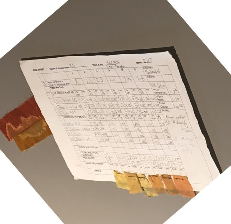 Dye samples in silk