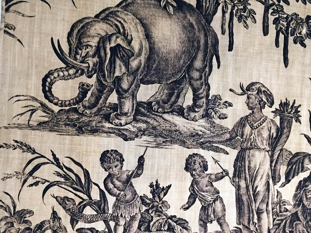 Detail of 18th century wall covering, collection of the Denver Art Museum