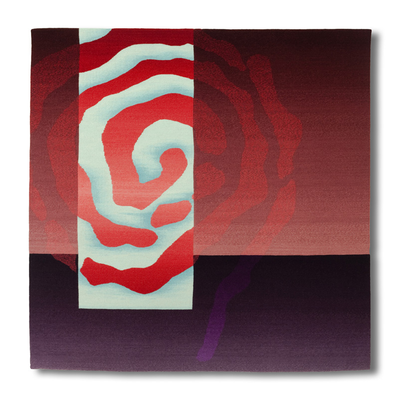 Rebecca Mezoff,  Emergence VII,  45 x 45 inches, hand-dyed wool tapestry
