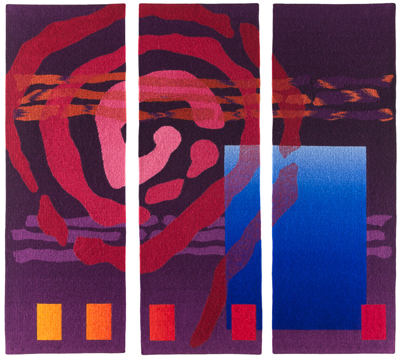 Rebecca Mezoff,  Emergence VIII , 54 x 54 inches, hand-dyed wool tapestry, private collection