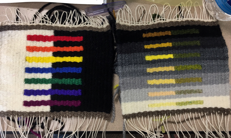 Tapestry samples by Anne Reaves, woven on a Hokett loom during Rebecca Mezoff's Color in Tapestry class at MWC.