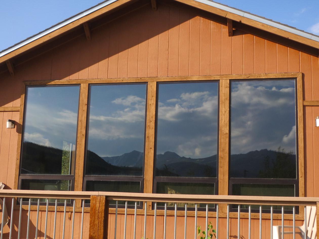 Hotchkiss Lodge, CSU Mountain Campus with reflection of Mummy Range