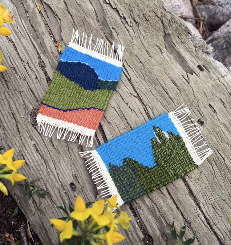 Kathy wove these wonderful mountain scenes. These are, I believe, woven at 12 epi so they are less than 2 inches wide.