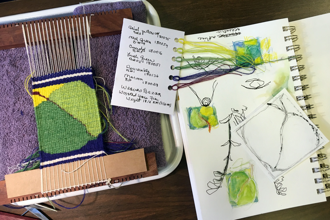 Beth wove this marvelous aspen leaf. I loved seeing her process of sketching and working with the colors with pen and ink and watercolor as well as noting the Weaver's Bazaar yarns on a card. This was woven with two strands 18/2 Weaver's Bazaar wool yarn at 12 epi on a 6-dent Hokett loom.
