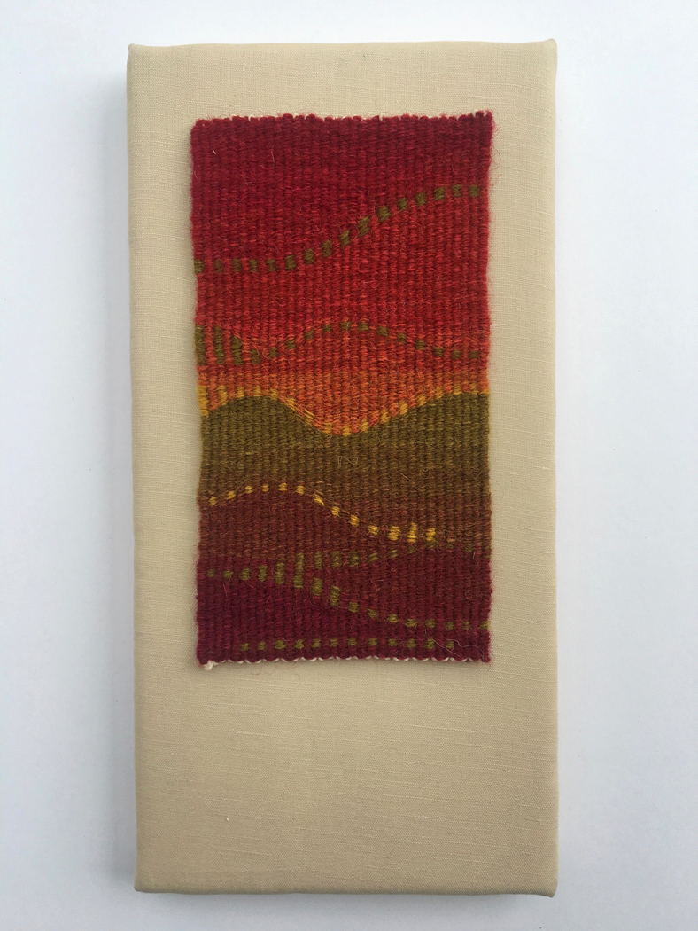 "Rebecca Mezoff,  ""I've Never Been to Morocco,"" she said wistfully.  7.4 x 4 inches, hand-dyed wool tapestry. Private collection."