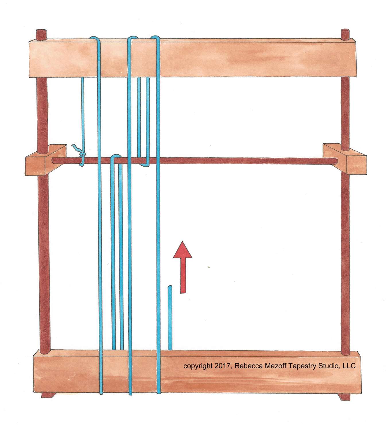 Warping pattern for a continuous tapestry warp