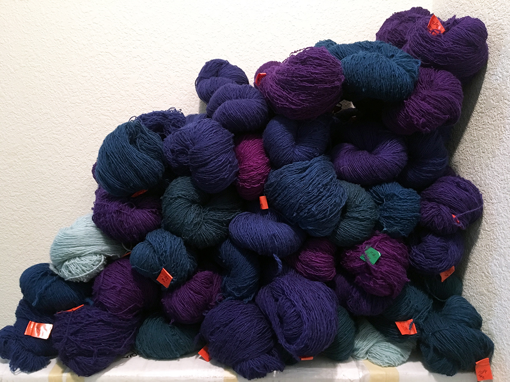 Rebecca Mezoff, hand-dyed Koehler singles for a commission