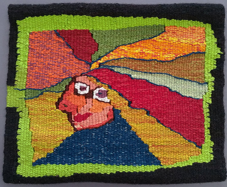 Linda Watson,  Wild Womyn,  8.25 x 9 inch tapestry completed after the Warp and Weft online course with Rebecca Mezoff
