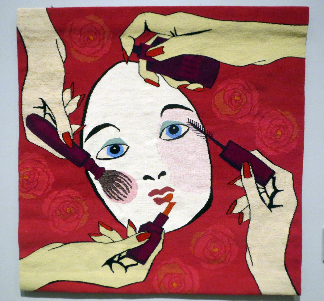 Ulrikka Mokdad,  Little Mirror on the Wall,  tapestry 33 x 33 inches.