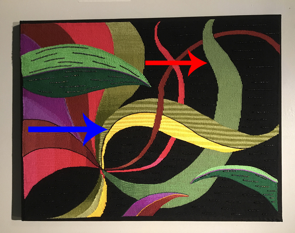 Marcia Ellis, example of horizontal and vertical curves in tapestry weaving
