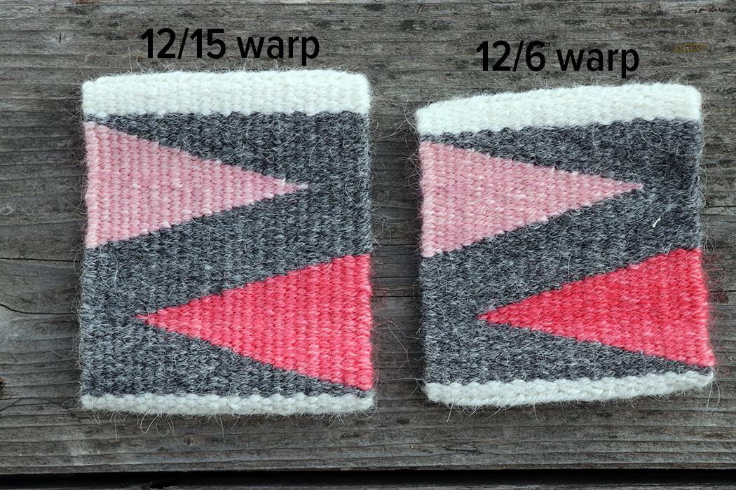 Both wefts are identical: Frid Vevgarn. Identical number of picks. Warp is 12/15 cotton seine twine and 12/6 cotton seine twine.