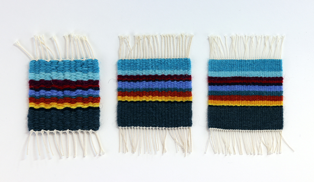 Tapestry weaving done at three different setts with the same yarn: 4 epi, 8 epi, and 12 epi.