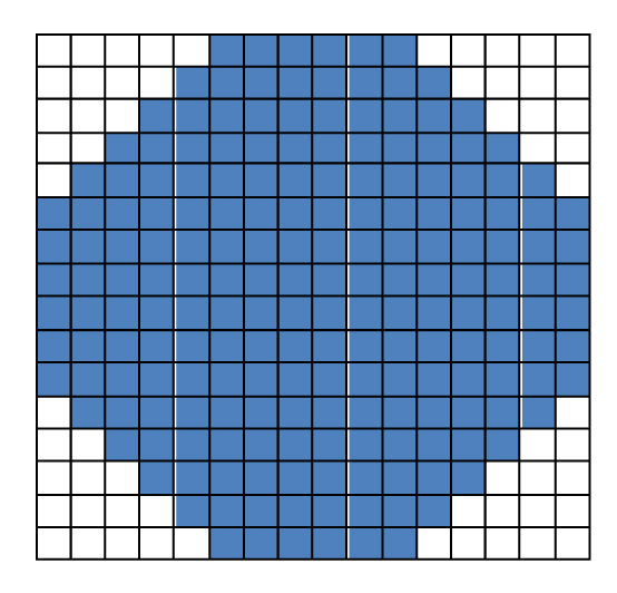 Example of a 2 inch circle woven at 8 epi.