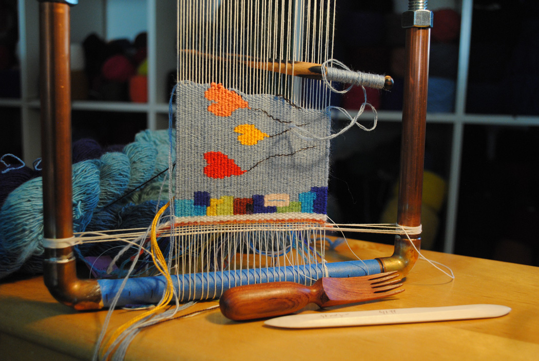 Pipe looms usually don't have an automatic way of spacing the warp. This means you can warp it for any sett you want! This is a copper pipe loom that I made. Instructions are included in my  Weaving Tapestry on Little Looms  online course.
