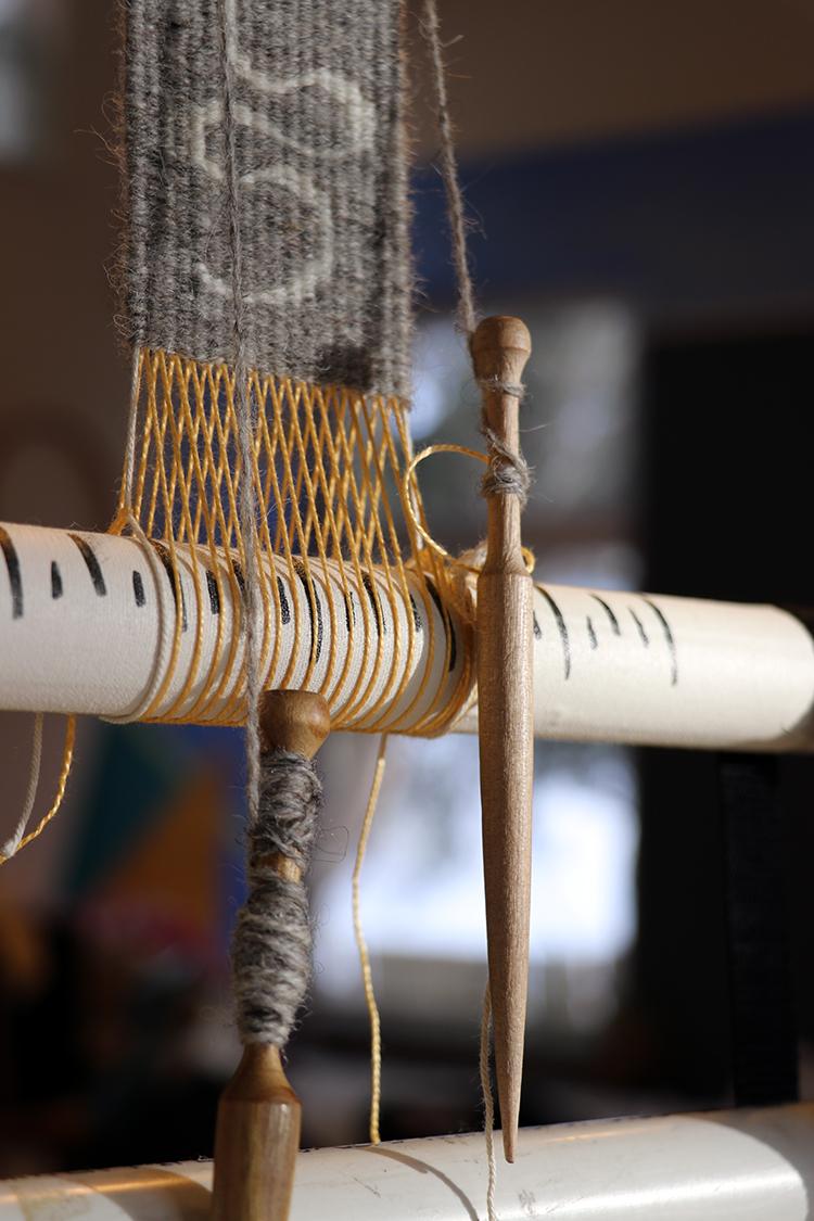 Sarah Swett's bobbins on a  four selvedge  warp.
