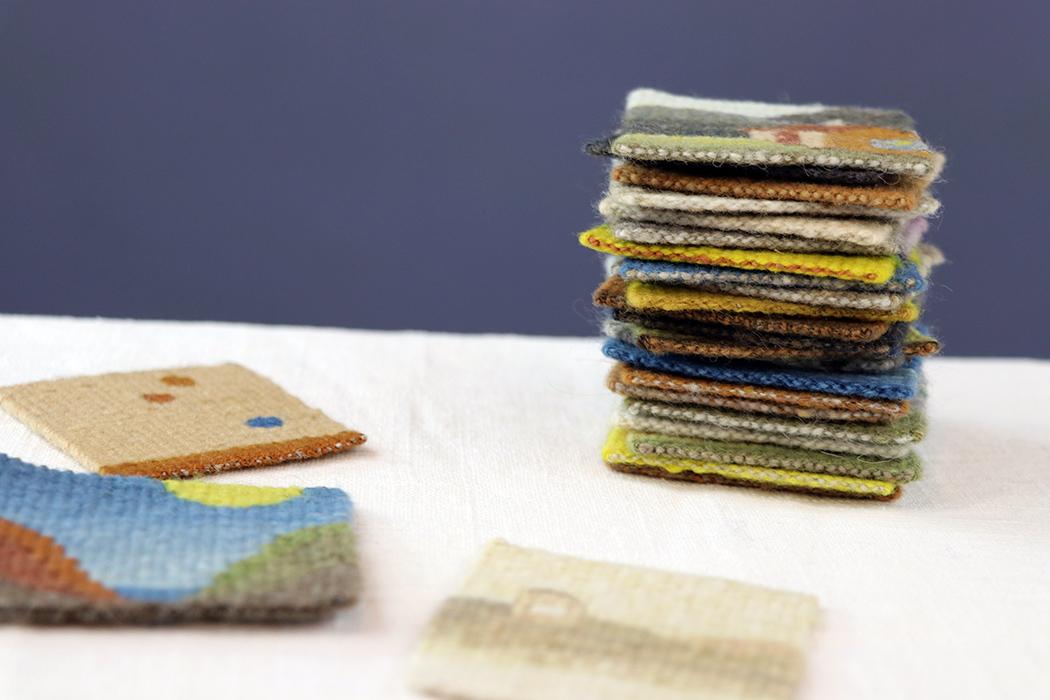 Sarah C. Swett, four selvedge tapestries