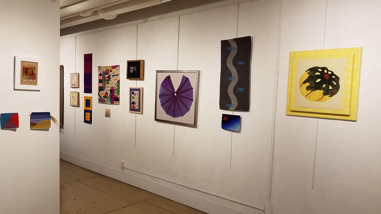 Webster Arts tapestry show. Warp and Weft:a curated exhibit of work produced by students of Rebecca Mezoff