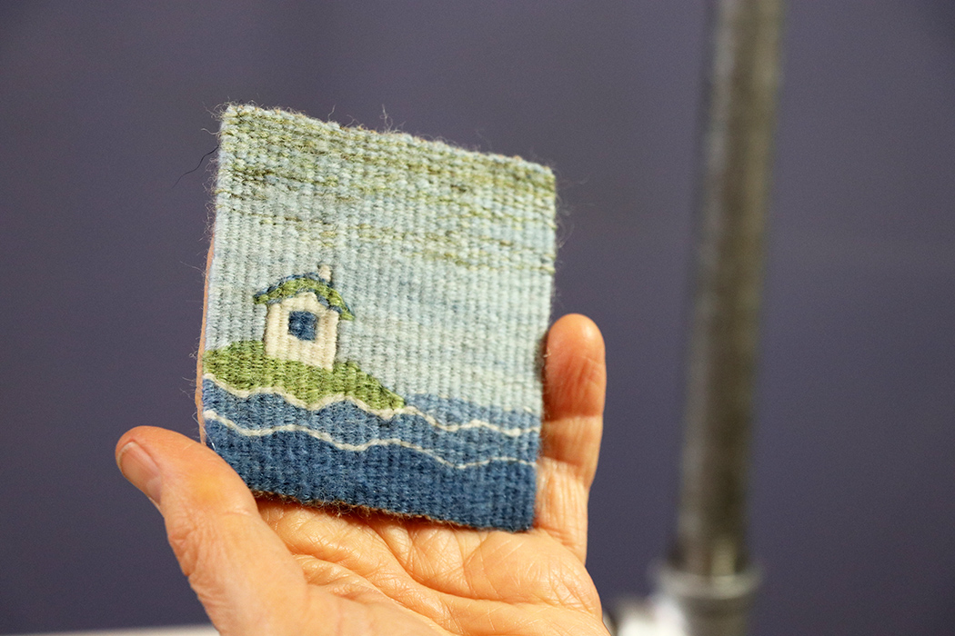 Sarah C. Swett, four selvedge tapestry, wool